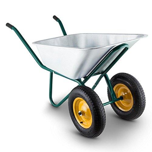 Waldbeck Heavyload Carretilla de Jardín Acero Verde (volumen 120 lt, capacidad max 320 kg, eje delantero con 2 ruedas, platón de acero galvanizado, empuñadora de goma)