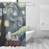 liangchunmei Badezimmer Duschvorhang Snoopy & Woodstock beobachten die Sterne Home Decor Duschvorhänge mit Haken 60 'X 72'