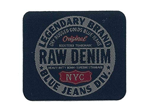 Mono-Quick Strijkapplicatie om op te strijken patch patch RAW denim Blue Jeans diverse 7,5 cm x 6,5 cm.