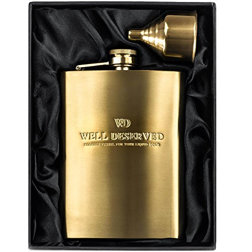 8oz Gold Flask for Liquor + Funnel Set. Proven Gift for Men or Women. Engraved Well Deserved. Hip Flask in a Classy Black Satin Packaging. Wedding, Groomsmen, Congratulation, Boss. by Well-Deserved