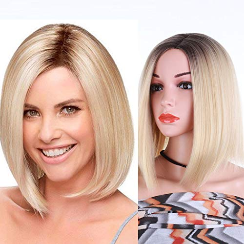 TANTAKO® Peluca Corto Ombre Rubio - Synthetic Blonde Ombre Wigs with Dark Roots Short Straight Full Wigs for Women