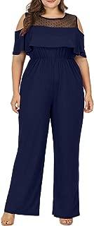 Plus Size Jumpsuits for Women Cold Shoulder Rompers Lace Flounce Long Pant Romper