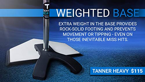 """Tanner Heavy   Premium Built Baseball/Softball/Slow Pitch Batting Tee, w/Weighted """"Claw"""" Base & Patented Hand-Rolled Rubber FlexTop"""