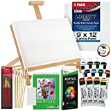 US Art Supply 33 Piece Custom Artist Acrylic Painting Set with Table Easel, Paint, Canvas and Accessories