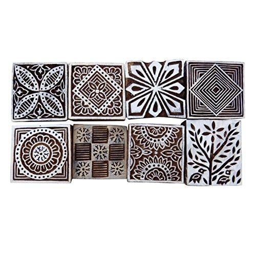 Menge 8 Stück Keramik Stempel Blockprinting Hand Geschnitzt Textildruckblock