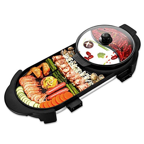 2 in 1 Electric BBQ Grill Hot Pot, Non-Stick Baking Pan Indoor Smokeless Barbecue Machine, Separate Dual Temperature Control, for 2-12 People Party