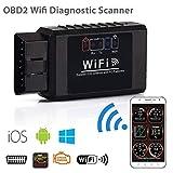 Dyoung Ega OBD2 WiFi Diagnóstico Coche OBDII Escáner Diagnosis Coche OBD2 Scanner Se Conecta a Través de WiFi Una Base de Datos más de 3000 Códigos con iOS, Android, Symbian y Dispositivos Windows