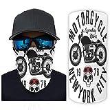 Bestwe New York City Moto 12 in 1 Fascia sportiva senza cuciture, per motociclisti, sport all'aria aperta, per donne e uomini, bianco, Taglia unica