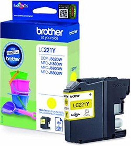 1x Original Brother Tintenpatrone LC221 LC 221 LC-221 für Brother MFC J 480 DW - Yellow - Leistung: ca. 260 Seiten