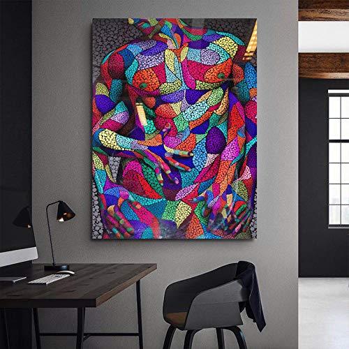 Canvas Print Posters en Prints Moderne Canvas Schilderen Koppels Knuffel Kleurrijke Afbeeldingen Muurkunst voor Woonkamer Abstract Kunst Liefde Schilderen 60x90cm No Frame