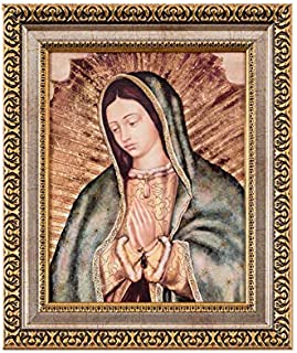MEXICANDOO Our Lady of Guadalupe Framed Portrait Print (Cuadro de la Virgen de Guadalupe) 11x13 inch with Golden and Silve...