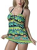 FEOYA - Traje de Baño Bikini de 2 piezas Bañador de Mujer Tallas Grandes Tankinis Estampado Floral Ropa de Natación para Playa Fiesta de Piscina - Multicolor 2 - Talla XXL (ES 40)