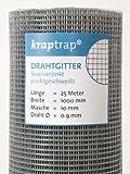 kraptrap® 10x10mm Masche I Volierendraht Drahtgitter Drahtzaun Käfigzaun Hasendraht (1m x 25m)
