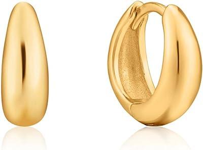 Ania Haie Orecchini a cerchio da donna Luxe Huggi Hoop in argento 925, taglia unica, colore: oro 32014113