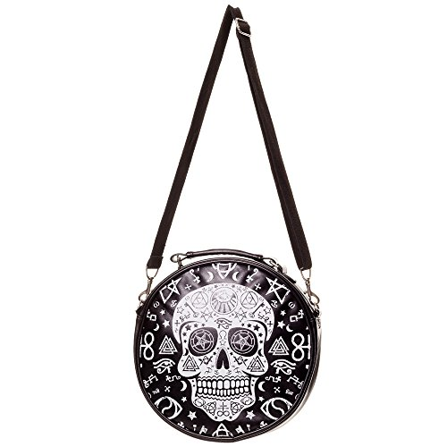 Banned Damen Okkult Totenkopf Handtasche Rund - Occult Sugar Skull Schultertasche