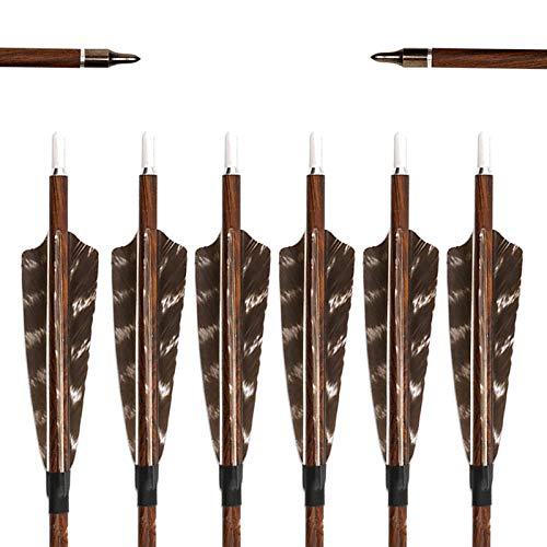 6 Stück Carbon Pfeile für Bogenschießen, 31 Zoll Carbonpfeile Bogenpfeile Zielübungspfeile mit Naturfedern, Jagdpfeile für Compound Bogen, Recurvebogen, Langbogen und Traditionellen Bogen (Spine 400)