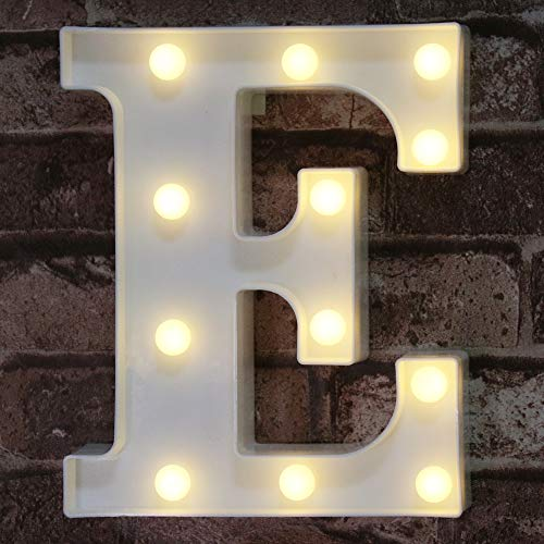 LED Marquee Letter Lights Alphabet Light Up Sign for Wedding Home Party Bar Decoration E
