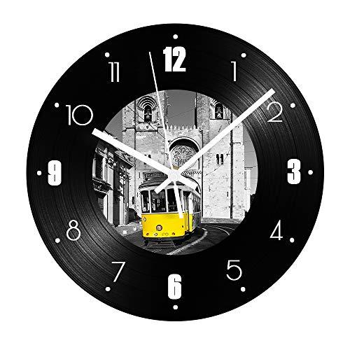 led nachtlicht bewegungssensor vintage gebäude rekord wanduhr bus thema stumm retro vinyl wohnzimmer dekoration digitaluhr wanddekoration tischlampe blitzabdeckung