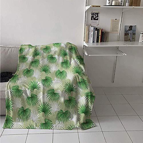 Nazi Mie Flanelldecke, tropisches Blatt der Palme Livistona Rotundifolia-Insel-Dschungel-Laub, Wurfs-Decke grünes hellgrünes Weiß