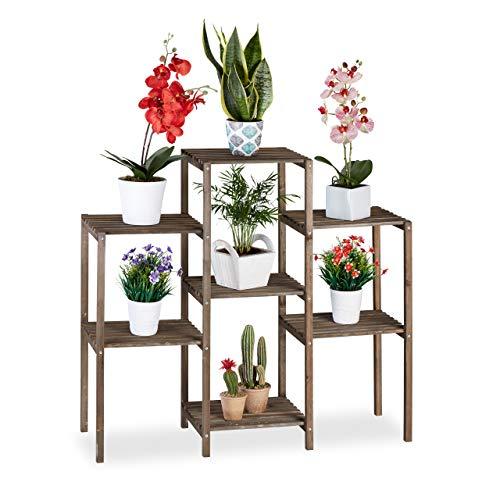 Relaxdays Houten bloementrap, shabby, binnen, woonkamer, plantenrek staand, 7 planten, h x b 86 x 95 x 29 cm, bruin, L