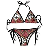 Womens Bikini Sets Wildlife Animal Skin Ethnic Pattern Swimwear Halter Push Up Beachwear Swimsuit Bathing Suits Black