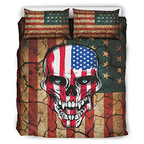 NiTIAN American Flag Skull Chic Printed Bed Set Bettbezug Set All Seasons Soft Bettwäsche-Set für Kinder 100% Polyester with Zip White 229x229cm