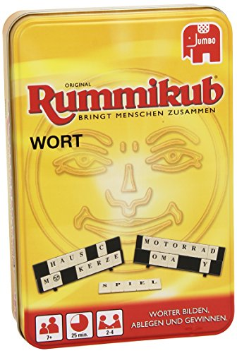 Jumbo 03974 Original Rummikub Wort Kompakt in Metalldose Gesellschaftsspiel, Ab 7 Jahren