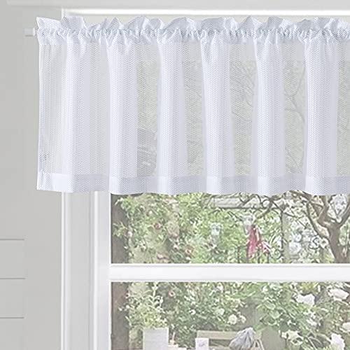 XWTEX WhiteKitchen Curtains Valance Tier Curtains Semi Sheer Privacy Half WindowCurtain for Café Window Curtains Rod Pocket (Herringbone, W60 x L16, 1 Pc)