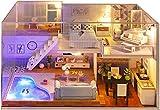 MWKL Lujosa casa de muñecas en Miniatura con Muebles, Caja de música de casa de muñecas de Madera para Bricolaje, Escala 1:24, Modelo de casa de muñecas con Piscina, cabaña ensamblada para niños