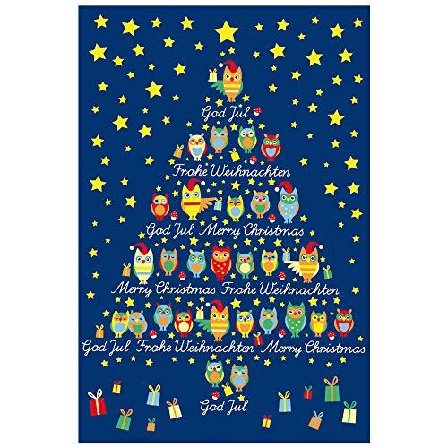 Susy Card 400236 - wenskaart Kerstmis, paard met hert en vogel en ster en hart, 1 stuk uilen