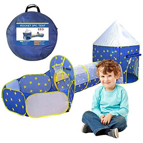 Kinder spielen Zelt Tunnel 3 in 1, Pop-up Zelt Spielhaus Crawl Tunnel Ball Pit Outdoor-Spielzelt und Tunnel Klappzelt mit Reißverschluss Aufbewahrungstasche für Kinder Baby Kinder Kleinkinder