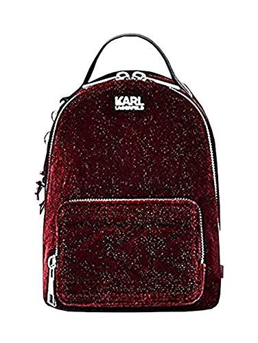 KARL LAGERFELD Bolso mochila terciopelo burdeos 86KW3091, 23 x 20 x 11 cm