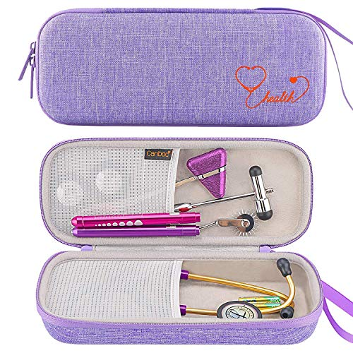 Canboc Hard Stethoscope Case for 3M Littmann Classic III, Lightweight II S.E, Cardiology IV, MDF Acoustica Stethoscope, Mesh Pocket fits Medical Scissors, Penlight, Oral Thermometer, Lavender