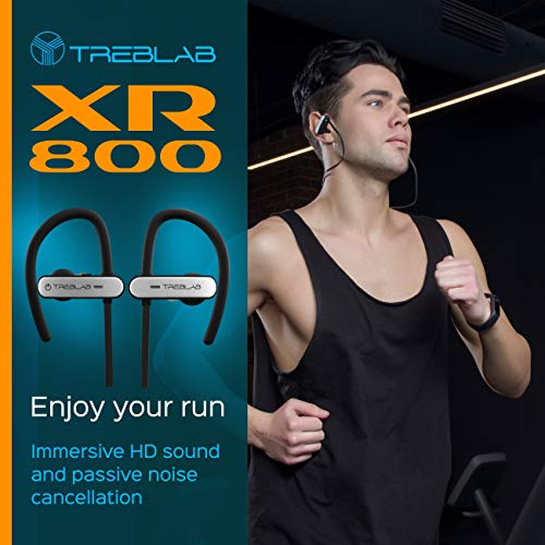 TREBLAB XR800 Bluetooth Headphones, Best Wireless Earbuds For Sports, Running Or Gym Workouts. 2018 Best Model. IPX7 Waterproof, Sweatproof, Secure-Fit. Noise-Cancelling Earphones w/ Mic (White) 5
