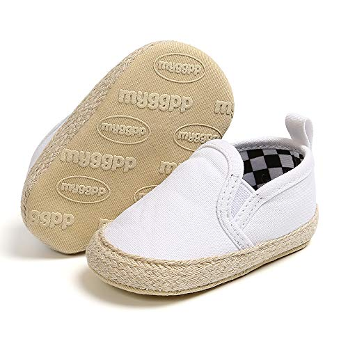 SOFMUO Baby Boys Girls Canvas Shoes Slip On Soft Sole Moccasins Infant Sneakers Toddler First Walkers Infant Crib Shoes(White,0-6 Months)