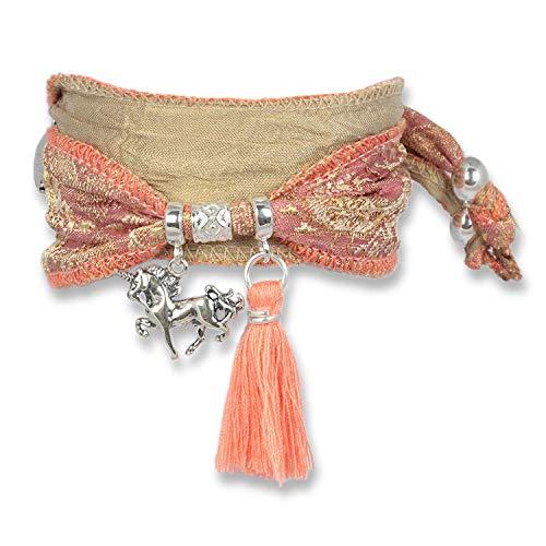 Anisch de la Cara Mujeres Pulsera Marsala Sand - Pulsera de Plata esterlina Boho Unicorn Hecha de Telas Saris Indias Silver Symbols - Arte no 90913-a
