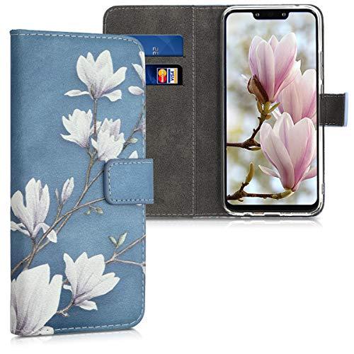 kwmobile Wallet Hülle kompatibel mit Huawei Mate 20 Lite - Hülle mit Ständer Kartenfächer Magnolien Taupe Weiß Blaugrau