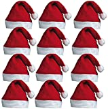 Redstar Fancy Dress - Pack de 12 Gorros de Papá Noel con pompón - Rojo