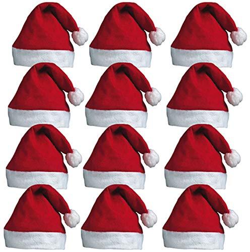 Redstar Fancy Dress - Lots de 12 Bonnets du Père Noël - à Pompon - pour fête de Noël au Travail - Rouge