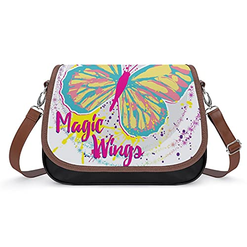 Xingruyun Bolsos Bandolera Para Mujer Mariposa Mágica Bolsos De Hombro Cuero Shoulder Bag Grande Capacidad Cartera Para Escuela Viaje Oficina 31x22x11cm