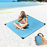 Beach Blanket Sand Proof and Waterproof Pocket Sized Picnic Mat 55' X 43' - Quick Drying Nylon - Best Outdoor...