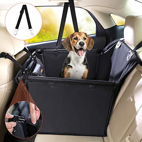 Kohree Hunde Autositz für kleine bis mittlere Hunde 58 x 50 x 55 cm Extra Stabiler Verstärkte Wände und Gurte Rückbank & Vordersitz Hundesitz Oxford Wasserdichter Hundeautositz mit Aufbewahrungstasche