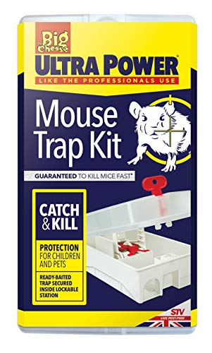 The Big Cheese STV563 Ultra Power Mouse Trap Kit (Lockable, Baited, Protects Children and Pets from Traps), White, 7.1x10.6x18.7 cm