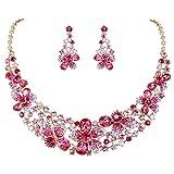 EVER FAITH Set Gioielli Donna, Austriaco Cristallo Elegante Sposa Primavera Fiore Collana Orecchini Set Rosa Oro-Fondo