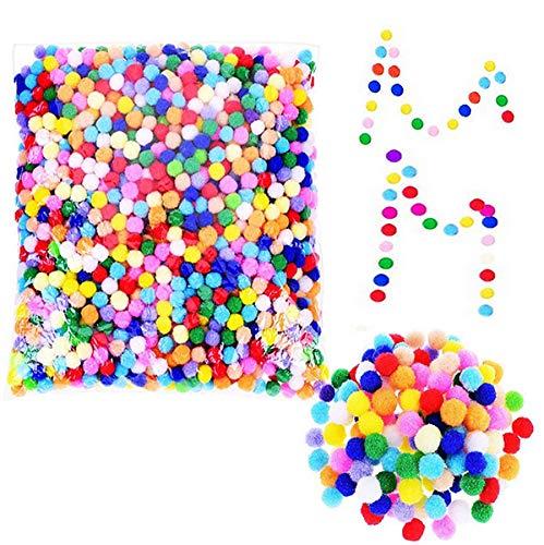 Liuer 2400PCS Colorato Pompon 9MM per Forniture per PON PON Giocattoli di Peluche Hobby e Fai da Te Creativo Crafts Mestieri Decorazione Articoli Artigianali di Natale per Bambini,Colori Assortiti