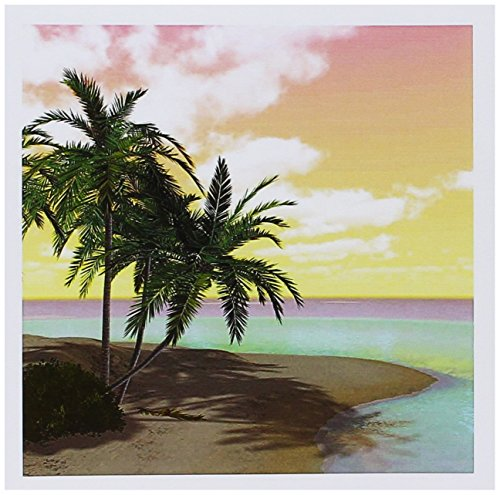3dRose Set of 12 Greeting Cards, A Colorful Sunset Island Beach Scene with Palms (gc_181698_2)