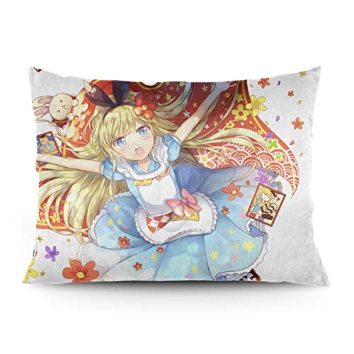ZLCMMF Alice in Wonderland Throw Pillow Covers Decorative Cotton Pillowcases for Living Room Sofa Couch Bed Soft Pillow Cases 20 x 26 Inch