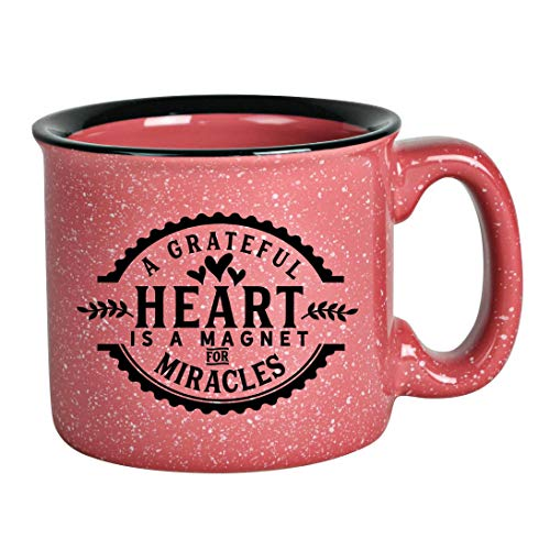 Campfire Ceramic Coffee Mug with Inspiring Quote - Pink Speckled Classic Coffee Cup   Holds 15 Ounces   A Grateful Heart is a magnet for miracles
