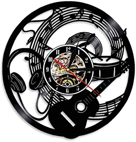 Guitar record wall clock music notes wave earphones music wall clock music studio recording studio wall 12 inches