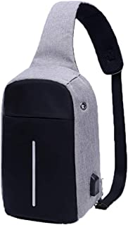 Anti Theft Crossbody Sling Bag with USB Charging Port & Headphone Hole, for Outdoor Sport Gym Hiking Cycling